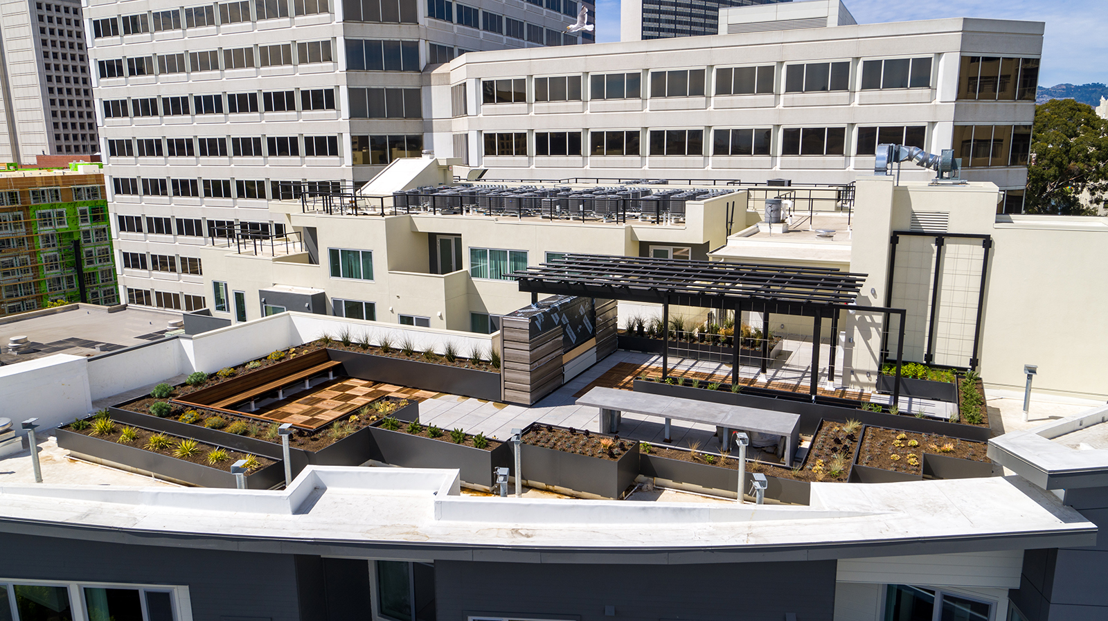 Aerial Photography from a Drone of a Terrace on a Condominium in Oakland