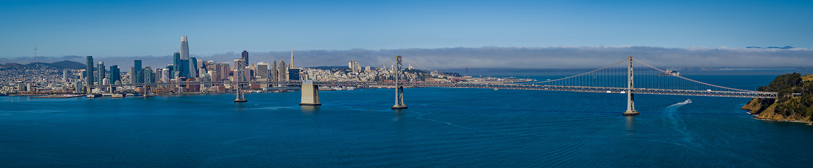 Aerial Panoramic Photo of San Francisco with Bay Bridge from the Oakland Perspective