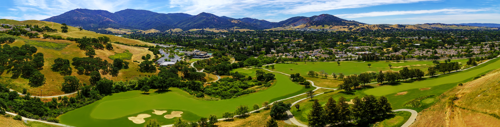 Aerial Panoramic Photo of Oakhurst Golf Course in Clayton San Francisco
